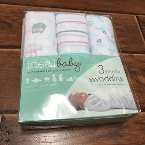 Ideal Baby Aden + Anais 3 Muslin Swaddles, Owls